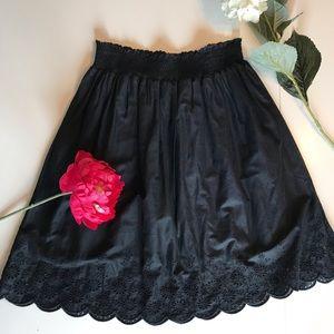 Black Eyelet Midi Skirt
